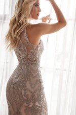 Slim fit lace gown with deep v-neckline and covered lace back - KC Haute Couture Wedding Dress