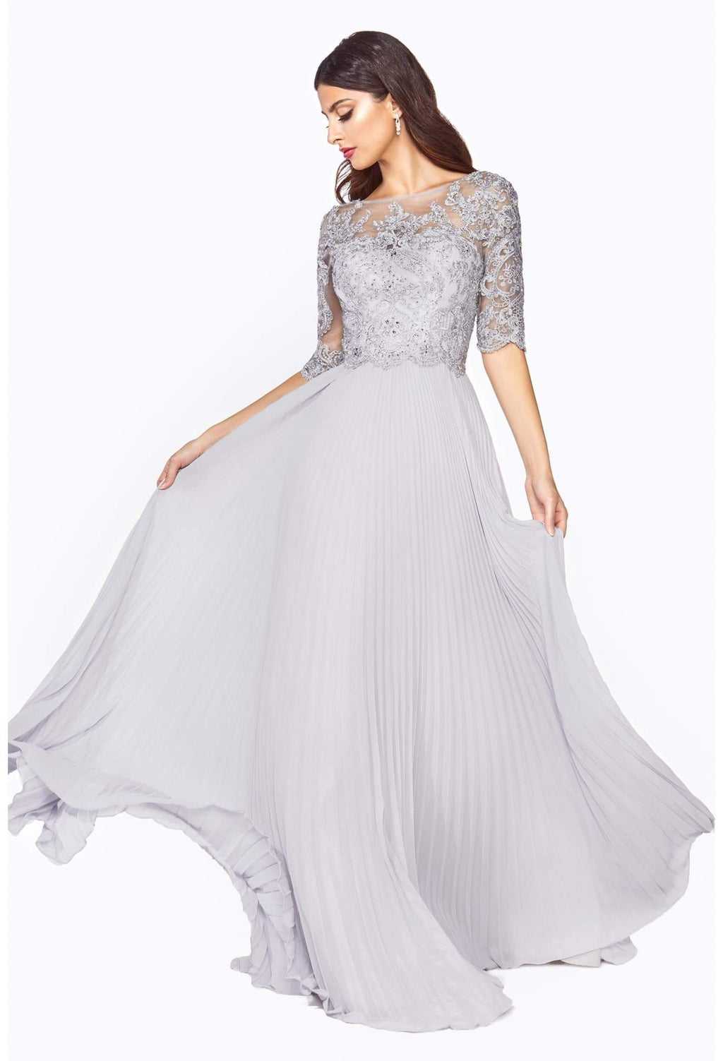 A-line dress with pleated chiffon skirt and lace three-quarter sleeve bodice - KC Haute Couture Wedding Dress