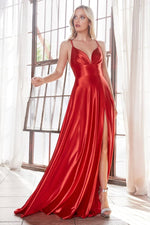 Satin a-line dress with pleated bodice and leg slit - Dark - KC Haute Couture Wedding Dress