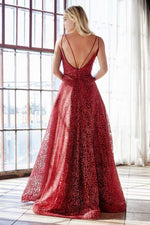Ball gown with rose glitter print, plunge neckline and open back - KC Haute Couture Wedding Dress