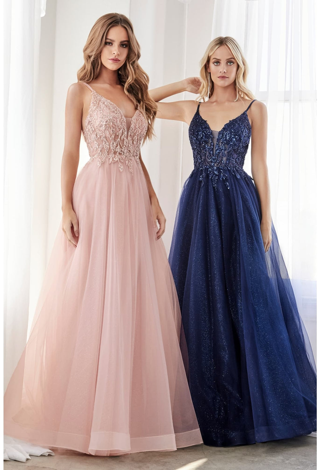 Chase, Colored A-line dress with beaded applique bodice and layered tulle skirt bridesmaids gown - KC Haute Couture Wedding Dress