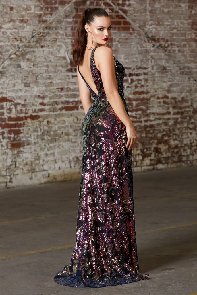 Fitted sequin dress with illusion sides and leg slit - KC Haute Couture Wedding Dress