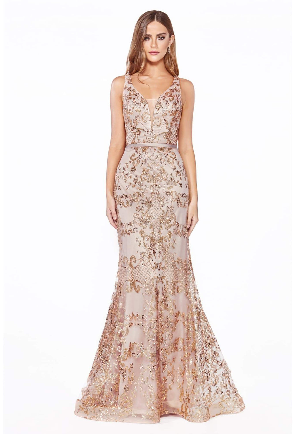 Fitted dress with glitter print details and deep plunging neckline - KC Haute Couture Wedding Dress