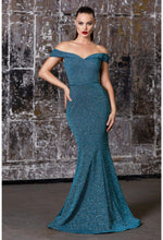 Off the shoulder fitted gown with metallic finish and belt - KC Haute Couture Wedding Dress