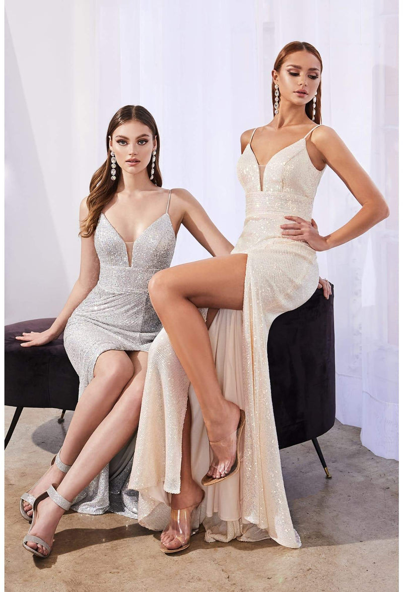 Fitted iridescent sequin dress with leg slit and sweetheart neckline - KC Haute Couture Wedding Dress