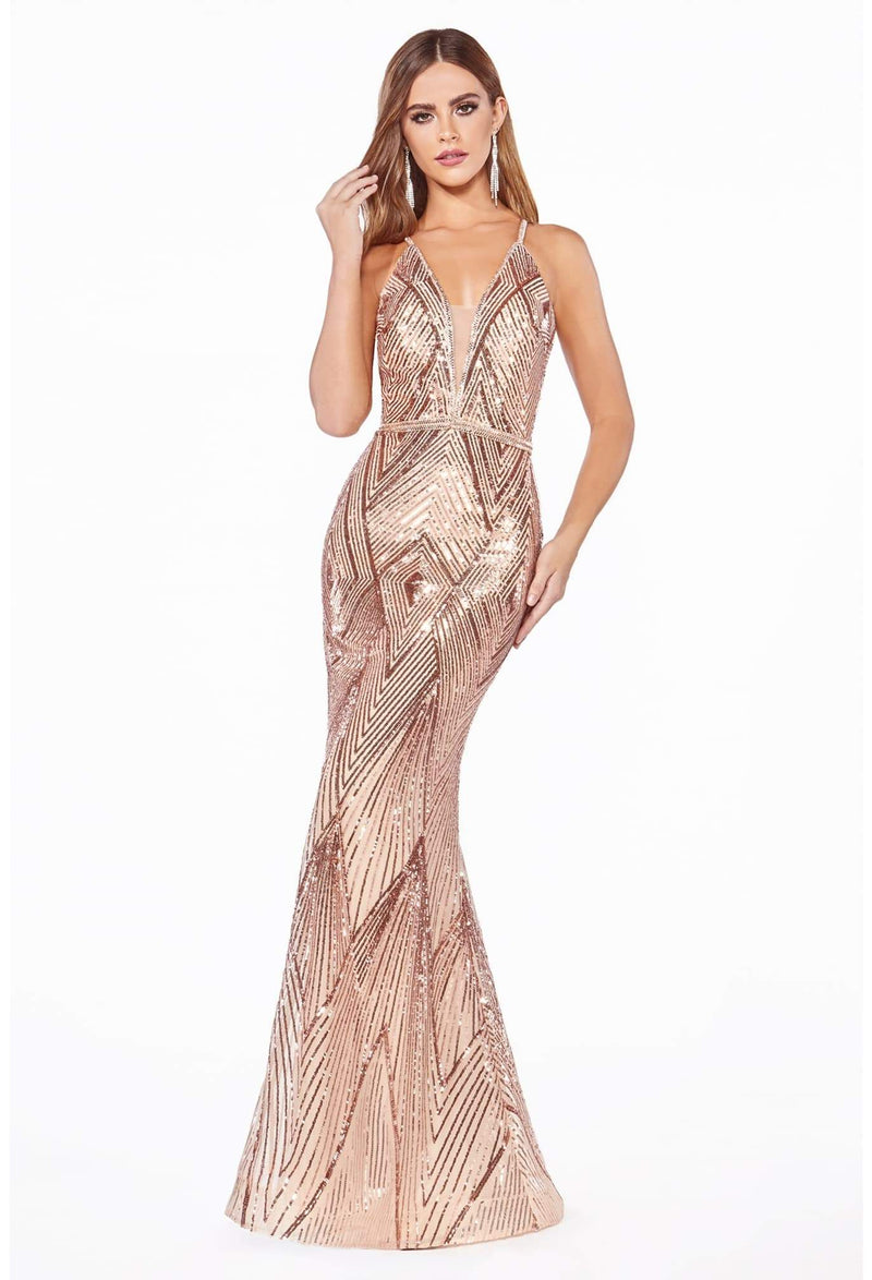 Fitted gown with art deco sequin print and beaded belt - KC Haute Couture Wedding Dress