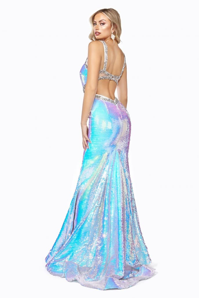 Fitted sexy gown with open back and flip sequin effect - KC Haute Couture Wedding Dress