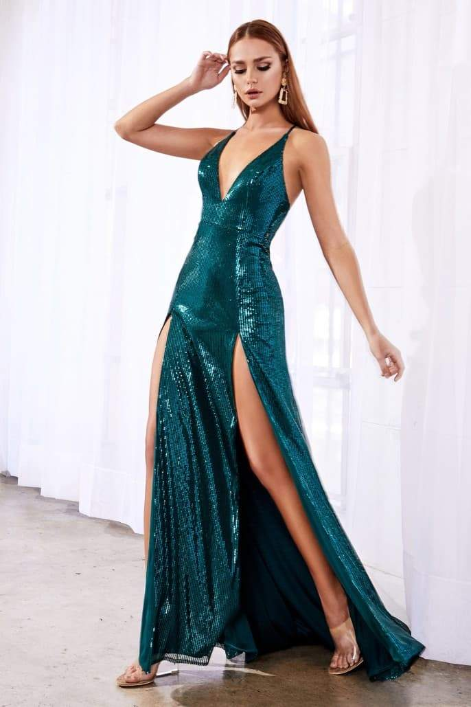 Fitted sequin dress with double slits and deep plunging neckline - KC Haute Couture Wedding Dress