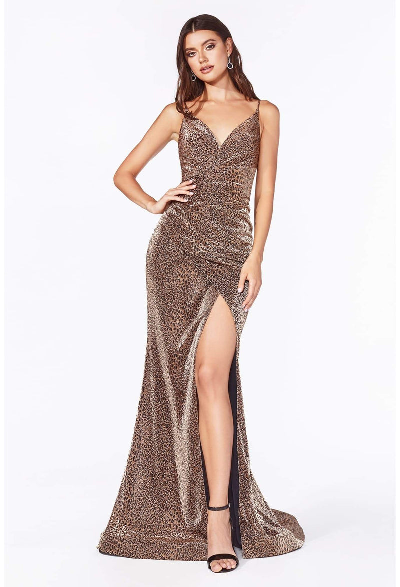 Fitted leopard print dress with a gathered waistline and leg slit - KC Haute Couture Wedding Dress
