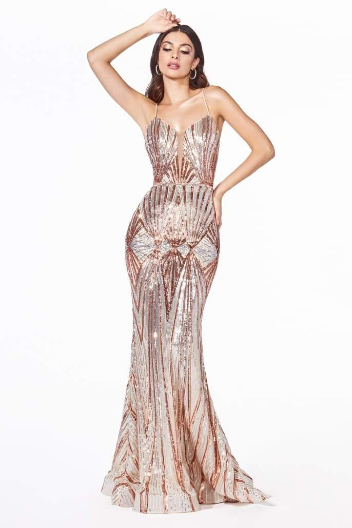 Fitted sequin gown with art deco sequin print and open back - KC Haute Couture Wedding Dress