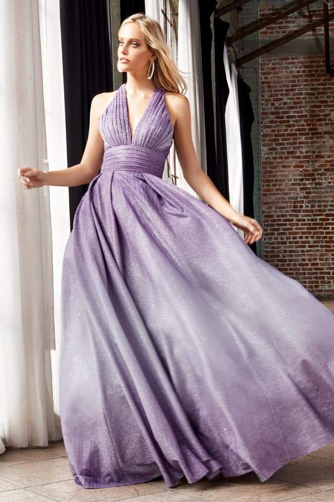 Ball Gown with halter pleated neckline and ombre glitter finish - KC Haute Couture Wedding Dress