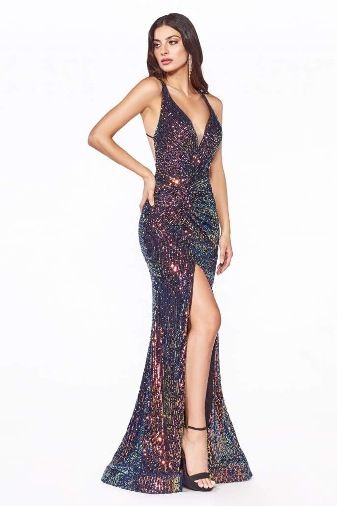 Fitted iridescent sequin gown with criss cross back and leg slit - KC Haute Couture Wedding Dress