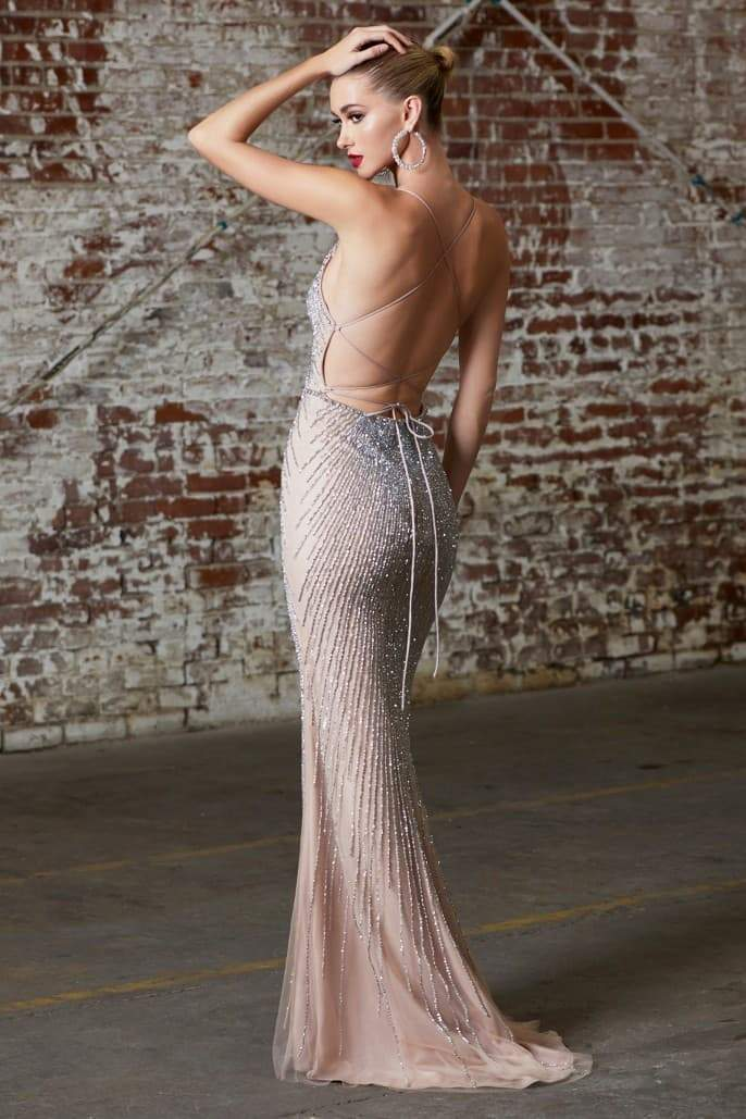 Fitted fully embellished gown with deep v-neckline and open criss cross corset back - KC Haute Couture Wedding Dress