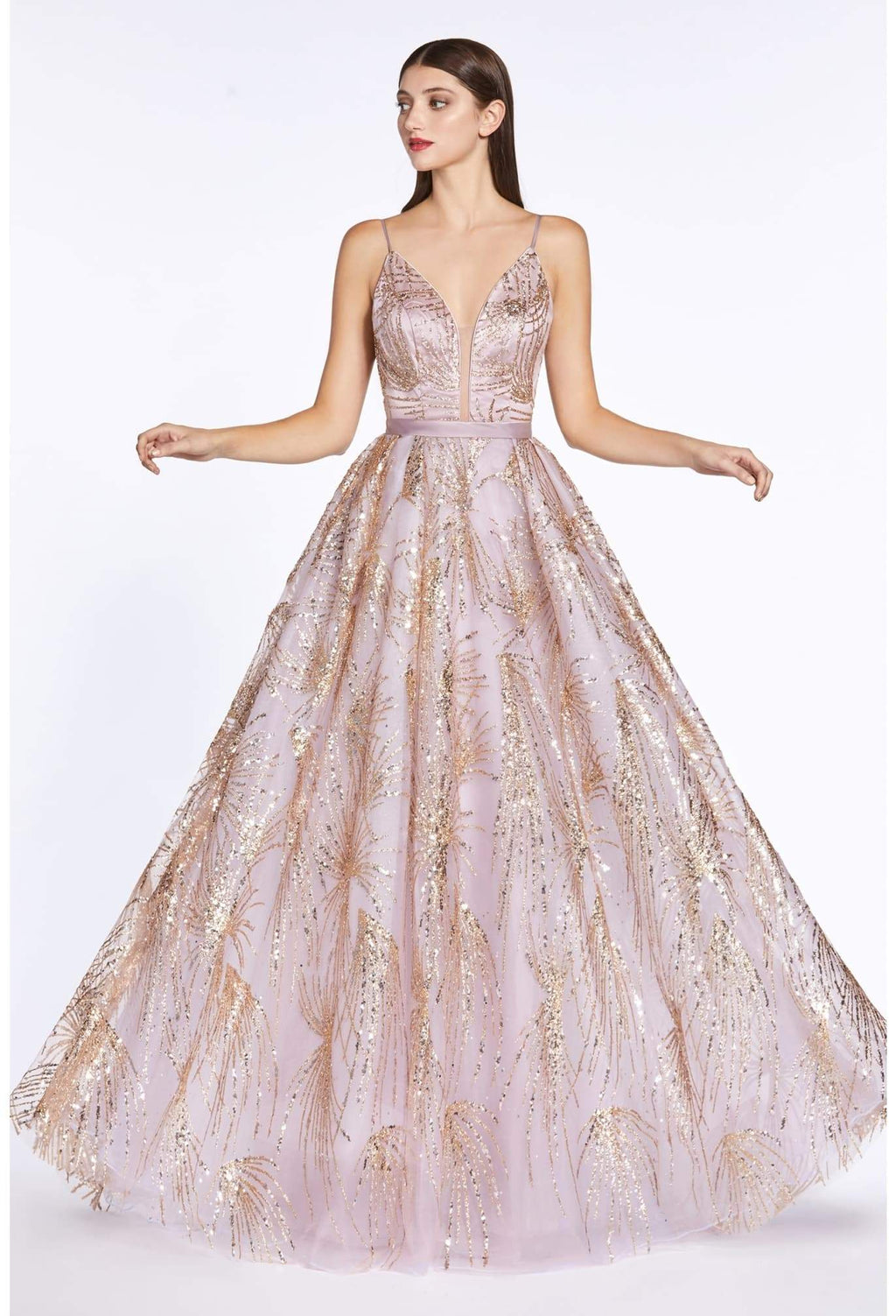 Ball gown dress with glitter print details and plunge neckline - KC Haute Couture Wedding Dress