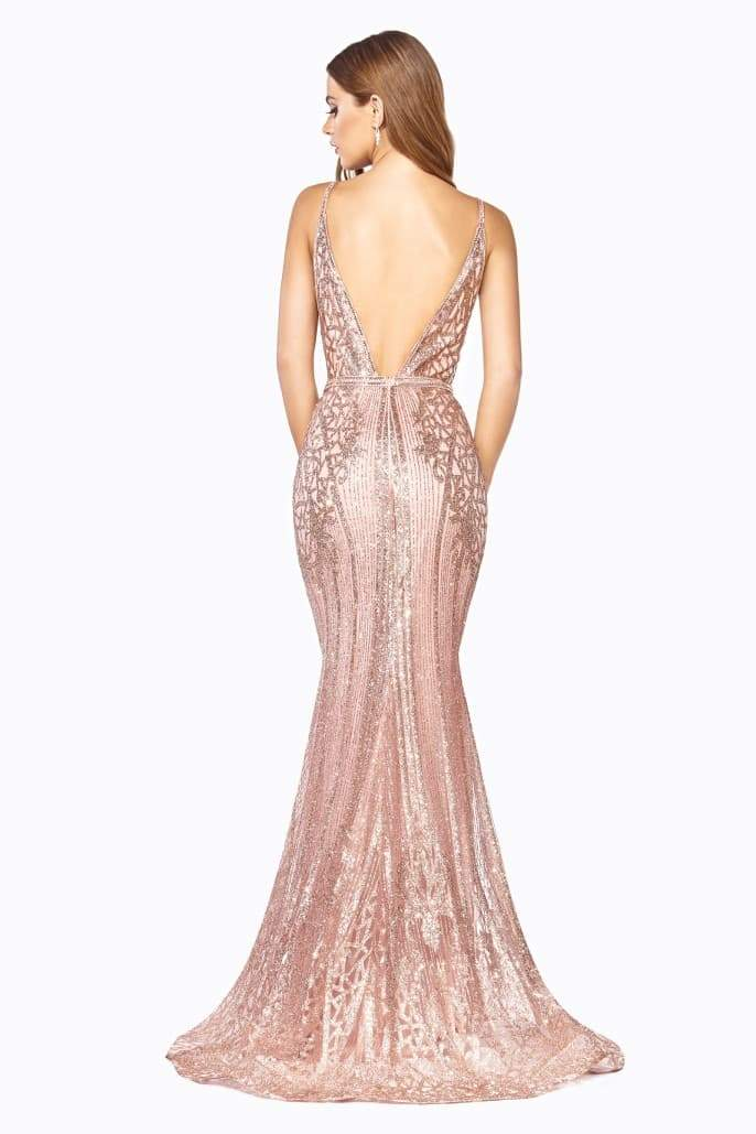 Fitted dress with art deco glitter print and open back - KC Haute Couture Wedding Dress