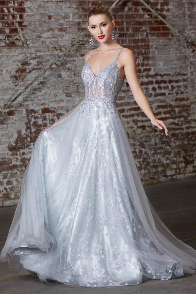 A-line dress with glitter corset bodice and layered tulle skirt - KC Haute Couture Wedding Dress