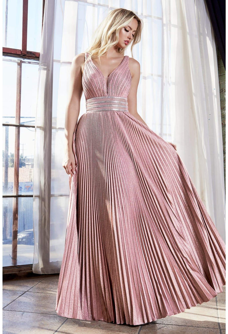 A-line pleated dress with beaded belts and gathered bodice - KC Haute Couture Wedding Dress