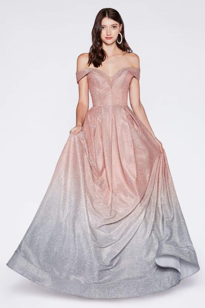 Off the shoulder gown with glitter fabric and rose gold ombre - KC Haute Couture Wedding Dress