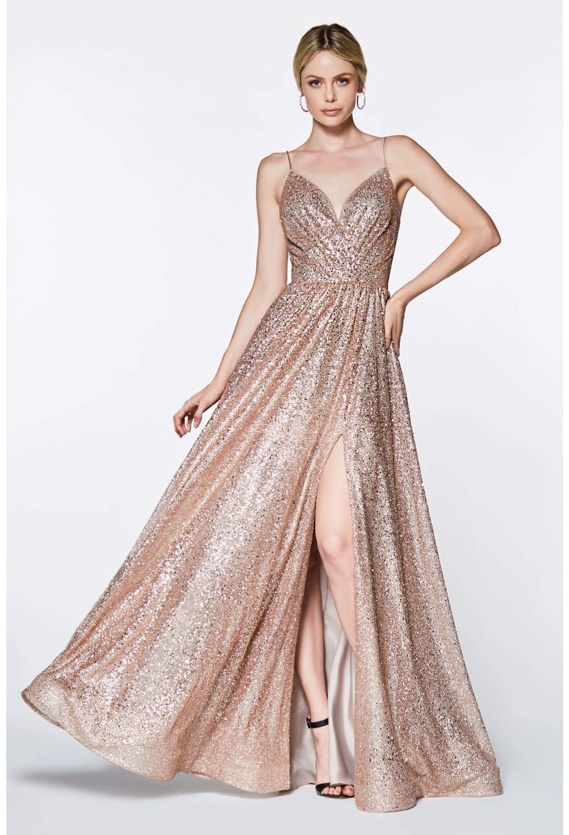 A-line fully glittered gown with sweetheart neckline and leg slit - KC Haute Couture Wedding Dress
