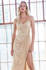 One shoulder fitted gown with glitter print details and leg slit - KC Haute Couture Wedding Dress