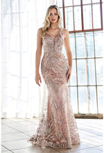Slim fit gown with glitter print pattern and deep v-neckline - KC Haute Couture Wedding Dress
