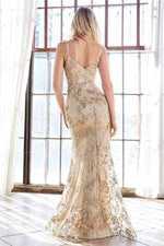Fitted gown with glitter floral print and sweetheart neckline - KC Haute Couture Wedding Dress