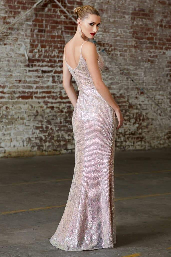 Slim fit sequin gown with gathered waist and pleated v-neckline - KC Haute Couture Wedding Dress