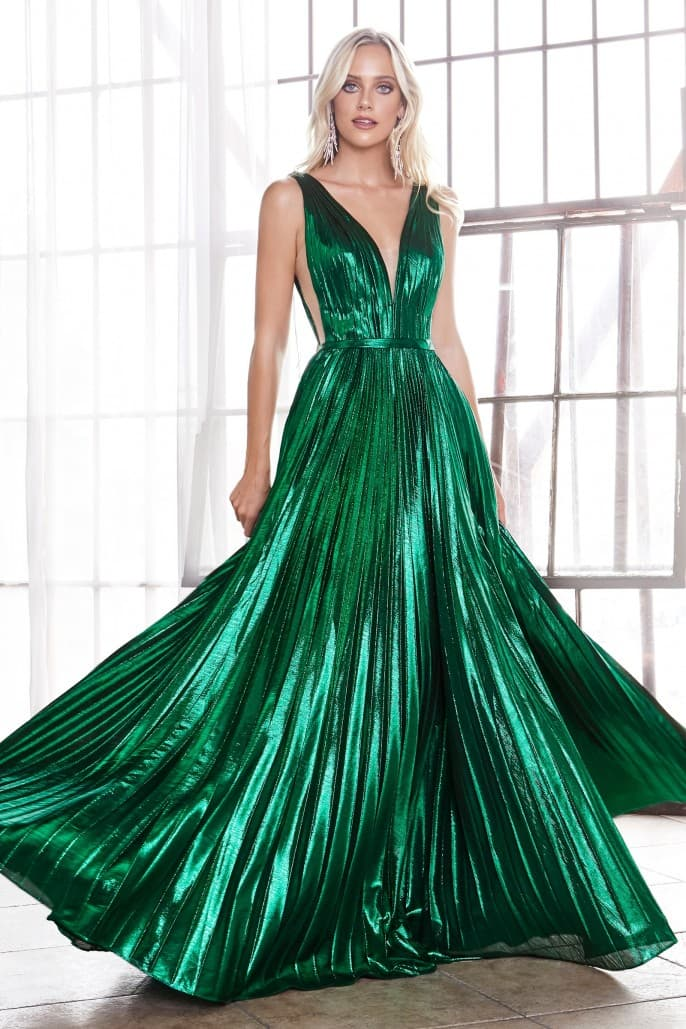 A-line metallic pleated gown with deep v-neckline and leg slit -Dark - KC Haute Couture Wedding Dress