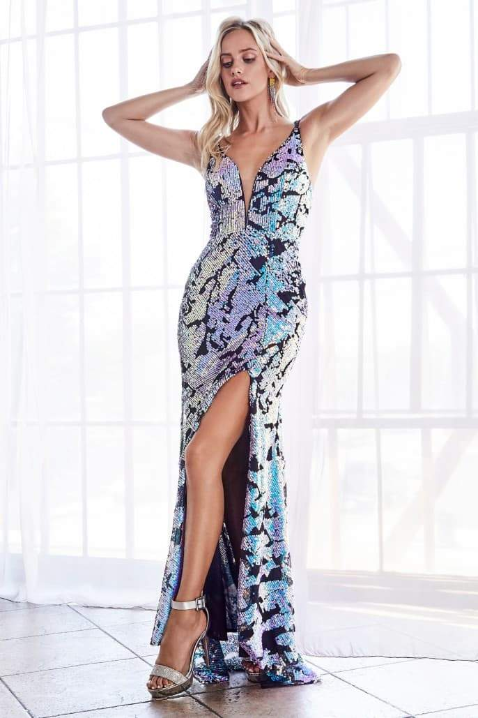 Slim fit gown with iridescent sequins and deep plunge neckline - KC Haute Couture Wedding Dress