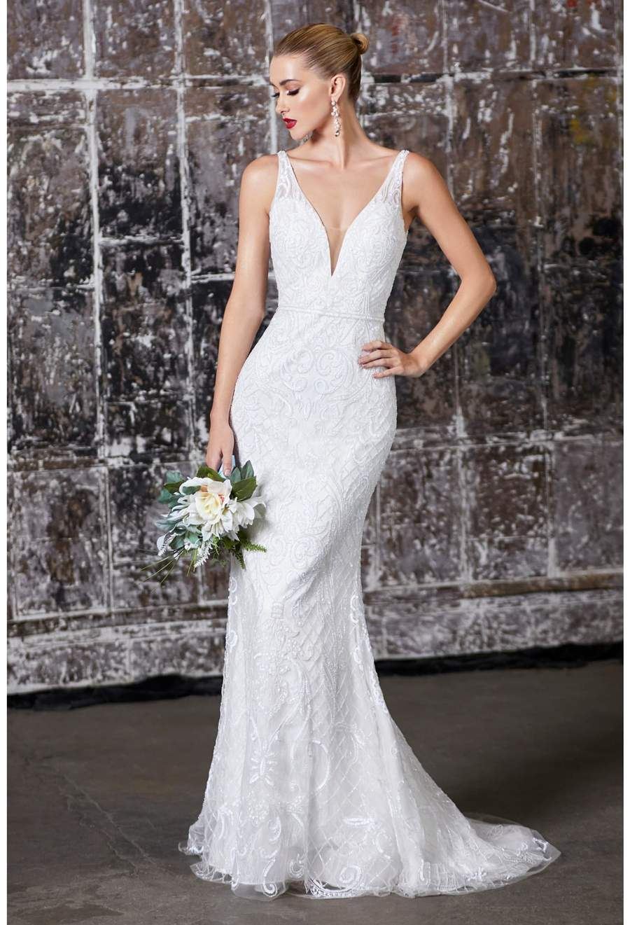 Alicia, Fitted fully beaded bridal dress with deep v-neckline and open back - KC Haute Couture Wedding Dress