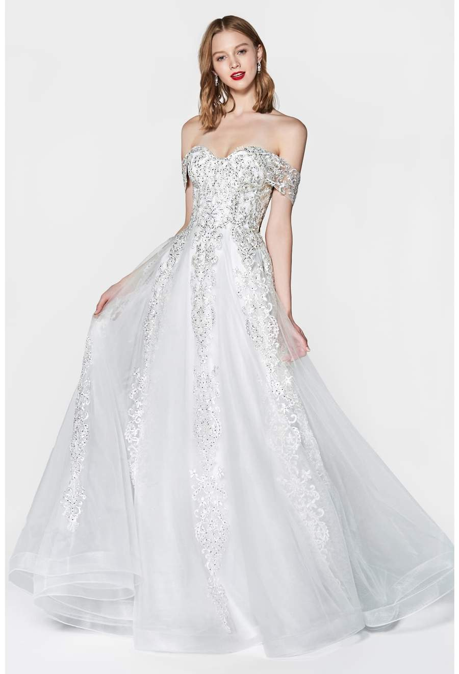 Kylie, Off the shoulder lace up back ball gown with beaded lace and tulle skirt - KC Haute Couture Wedding Dress
