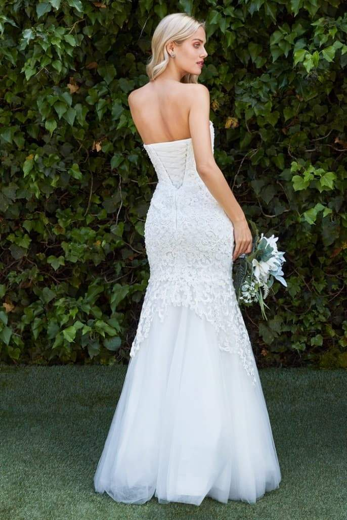 Stacey, Strapless fitted mermaid gown with beaded lace detail and tulle skirt - KC Haute Couture Wedding Dress