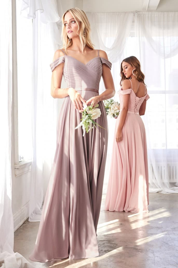 Annie Off the shoulder chiffon gown with corset back and satin belt - KC Haute Couture Wedding Dress