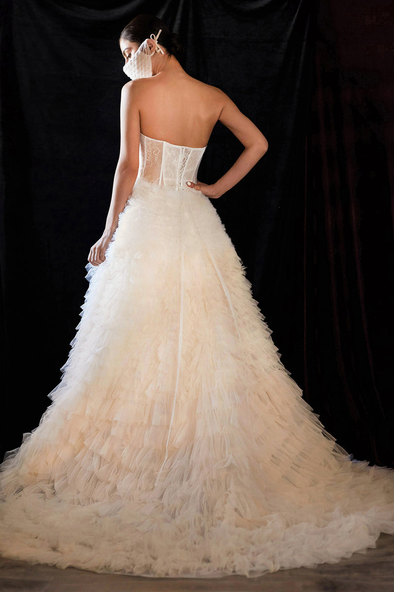 EVA BRIDAL BALL GOWN WITH LAYERS OF RUFFLES - KC Haute Couture Wedding Dress