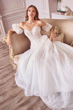 Willow Bridal Gown A-line and detachable puff sleeves worthy of medieval princess - KC Haute Couture Wedding Dress