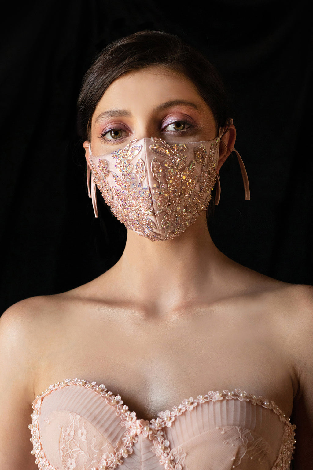 BEADED FLORAL ANTOINETTE FASHION MASK- BLUSH - KC Haute Couture Wedding Dress