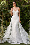 Ariel, Strapless fitted off-white gown with floral applique and glitter tulle overskirt - KC Haute Couture Wedding Dress