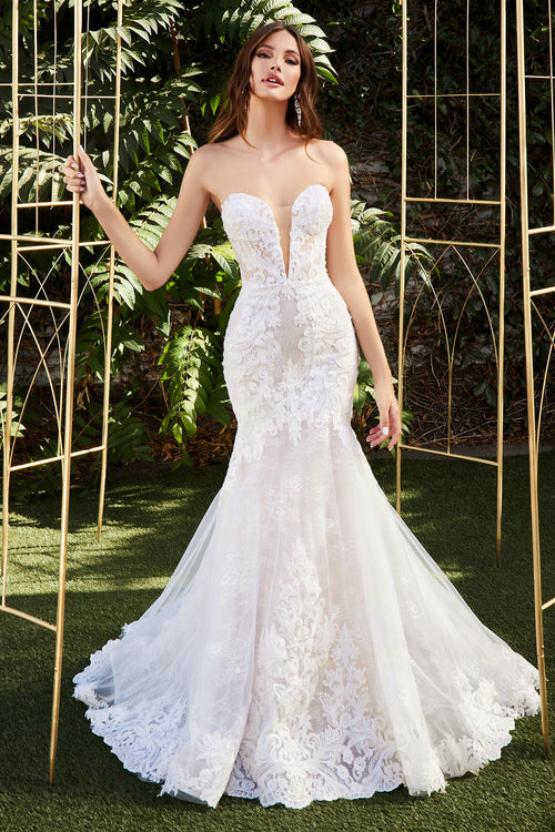 Strapless mermaid bridal gown with beautiful layered lace and scalloped eyelash lace train - KC Haute Couture Wedding Dress