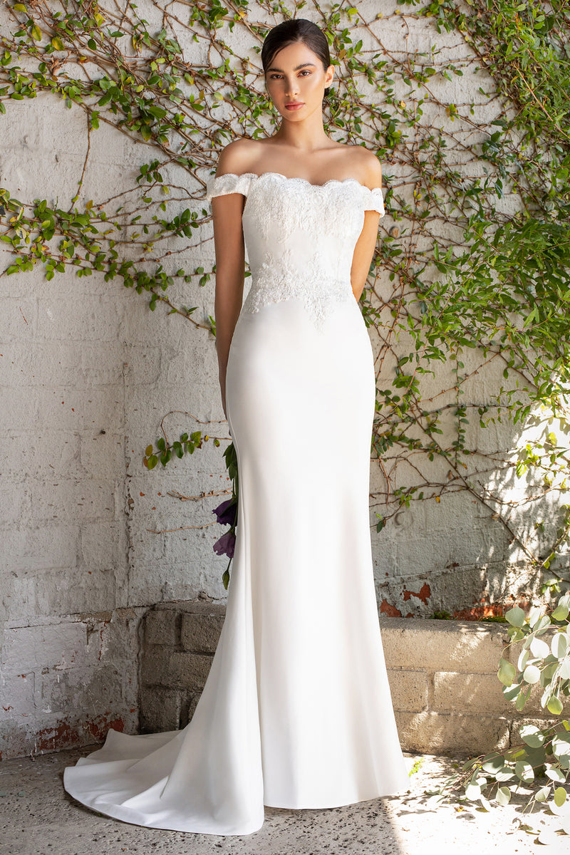 Kellyn Off the shoulder fitted gown with lace applique details and stretch jersey - KC Haute Couture Wedding Dress
