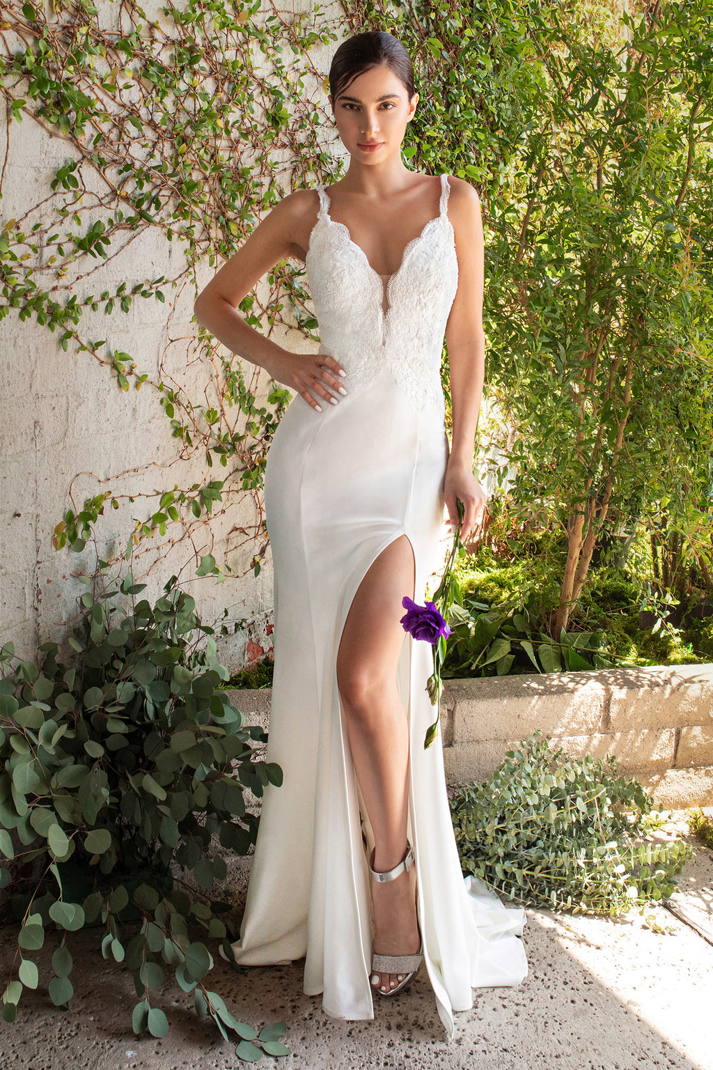 Macy, Fitted lace bodice gown with deep plunging neckline, open back and leg slit - KC Haute Couture Wedding Dress