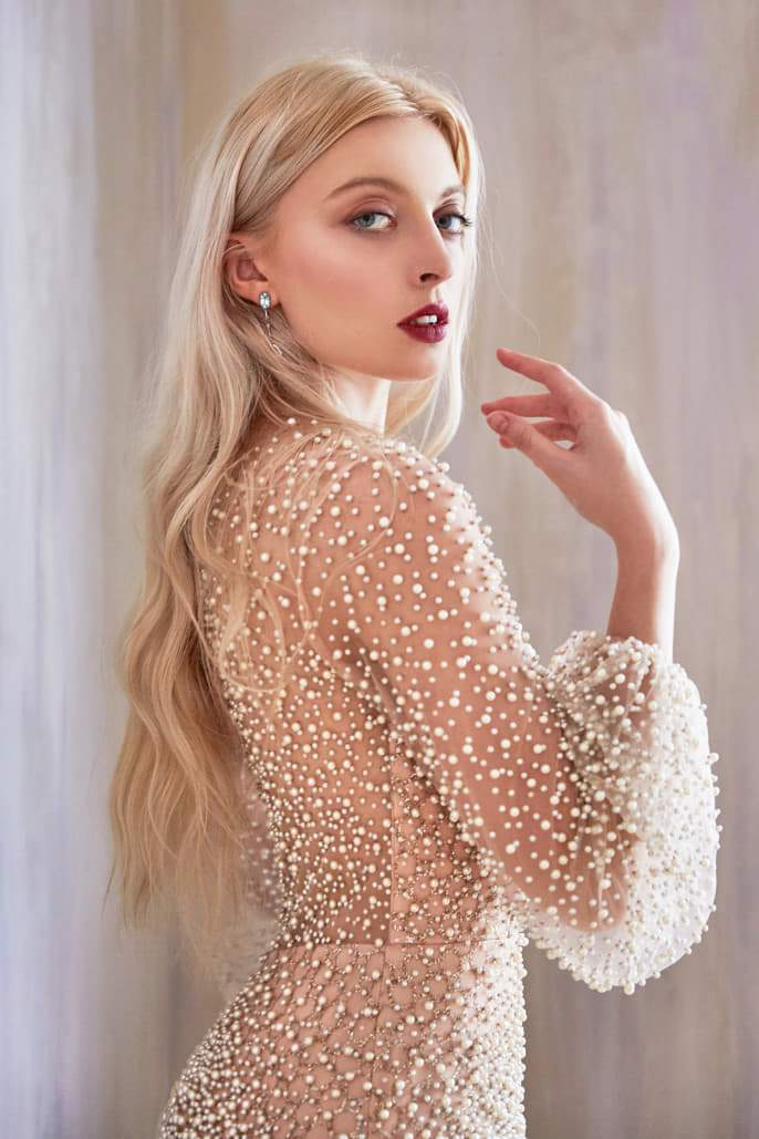 IRIS GOWN FULLY PEARLED LONG SLEEVE FIT AND FLARE - KC Haute Couture Wedding Dress