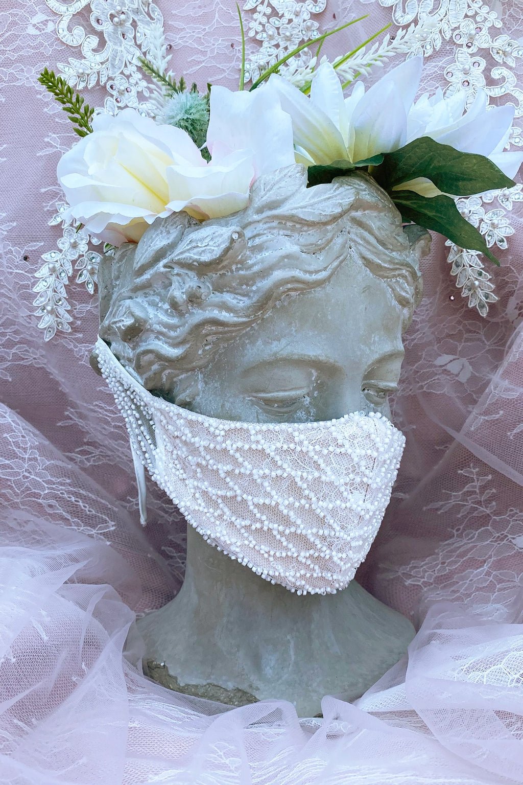 Beaded Rococo Cosette Fashion Mask- Off White/ Nude
