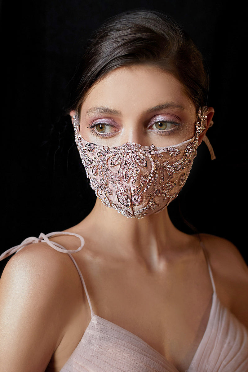 BEADED LATTICE BERNADETTE FASHION MASK- BLUSH GOLD - KC Haute Couture Wedding Dress