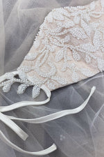 Beaded Lattice Bernadette Fashion Mask- Off White/ Nude - KC Haute Couture Wedding Dress