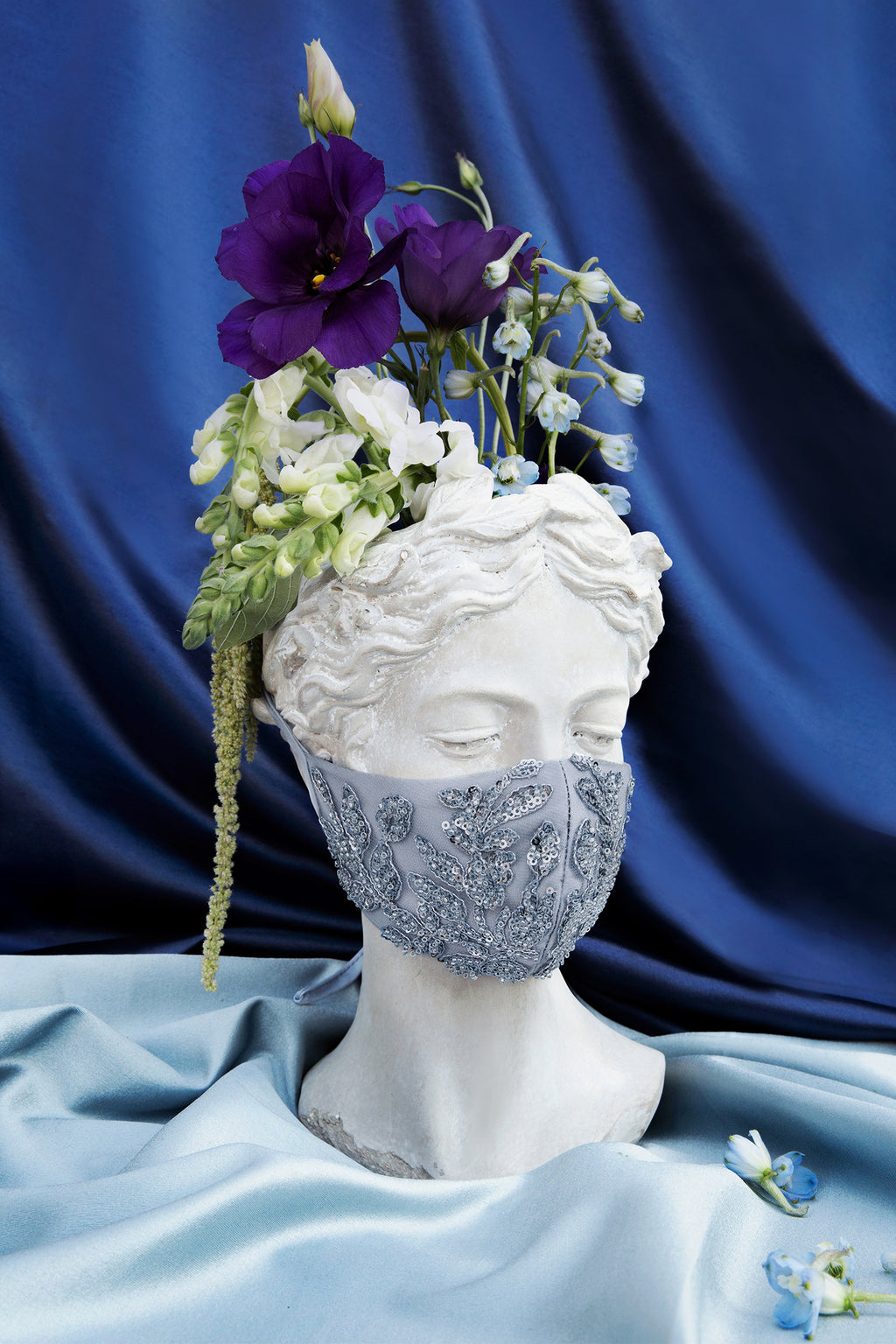 BEADED FLORAL ANTOINETTE FASHION MASK- BLUE - KC Haute Couture Wedding Dress