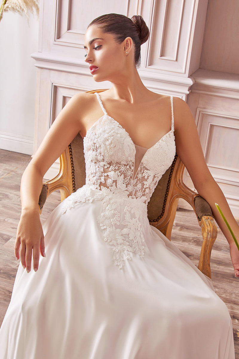 A-line chiffon gown with beaded embellished floral bodice applique - KC Haute Couture Wedding Dress