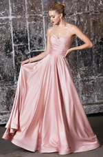 Strapless soft satin gown with sweetheart neckline and leg slit - KC Haute Couture Wedding Dress
