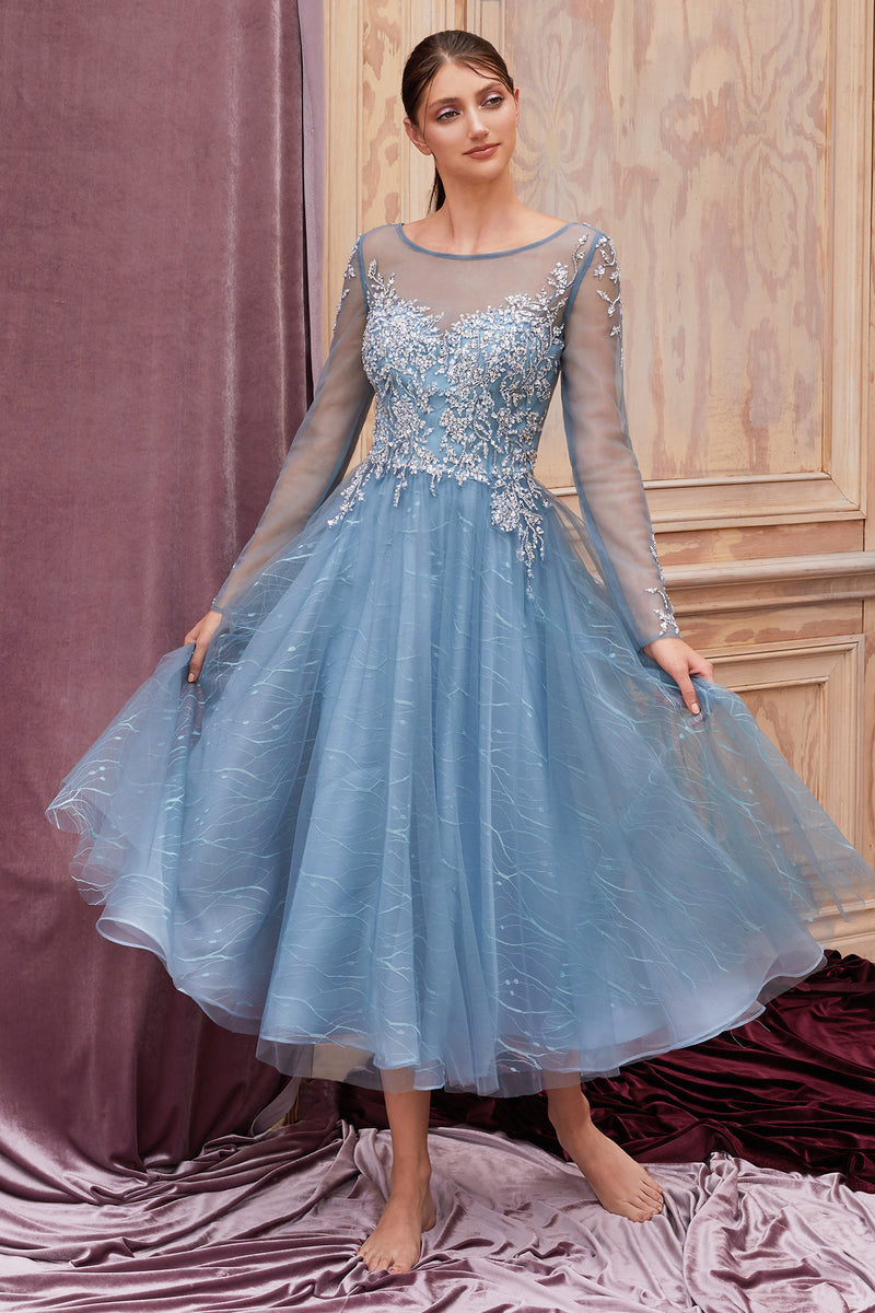 LUNA DOVE- BLUE LONG SLEEVE ANKLE LENGTH HOLIDAY EVENING DRESS - KC Haute Couture Wedding Dress