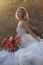 LACE SHEATH GOWN WITH AN ORGANZA OVERSKIRT - KC Haute Couture Wedding Dress
