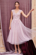 MODESTA MAUVE CAP SLEEVE ANKLE LENGTH HOLIDAY EVENING DRESS - KC Haute Couture Wedding Dress